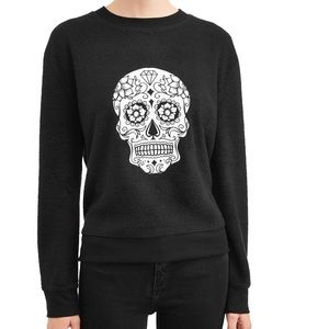 NWT New Black White Skull Crewneck Sweatshirt XL